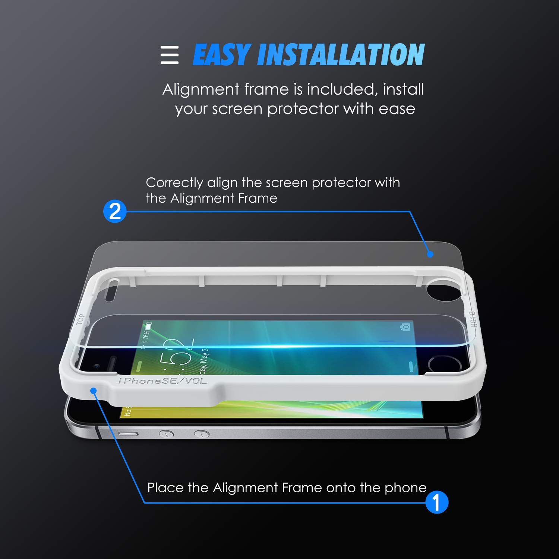SPARIN [4-Unidades Protector Pantalla iPhone SE, Cristal Templado para iPhone SE/5S/5C/5 con [Anti-Arañazos] [2.5d Borde Redondo] [9H Dureza] [Alta ...