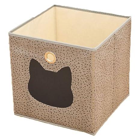 SZHTSWU 31 * 31 * 31 cm cajas de almacenamiento decorativo papel cubo plegable cesta multiusos