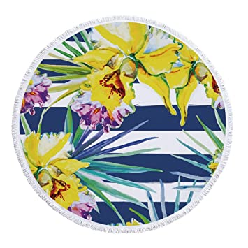 Nalkusxi Toalla de Playa Redonda Planta Verde Microfibra Más Borla Estera Toalla de baño Círculo Picnic