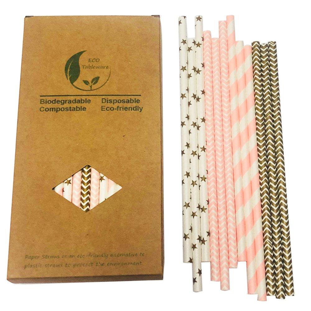 Gentlefolk Series - Pajitas decorativas de papel doradas y rosas, caja de papel de 100 unidades, estrella dorada, chevron dorado, tira rosa, ondulado rosa: ...
