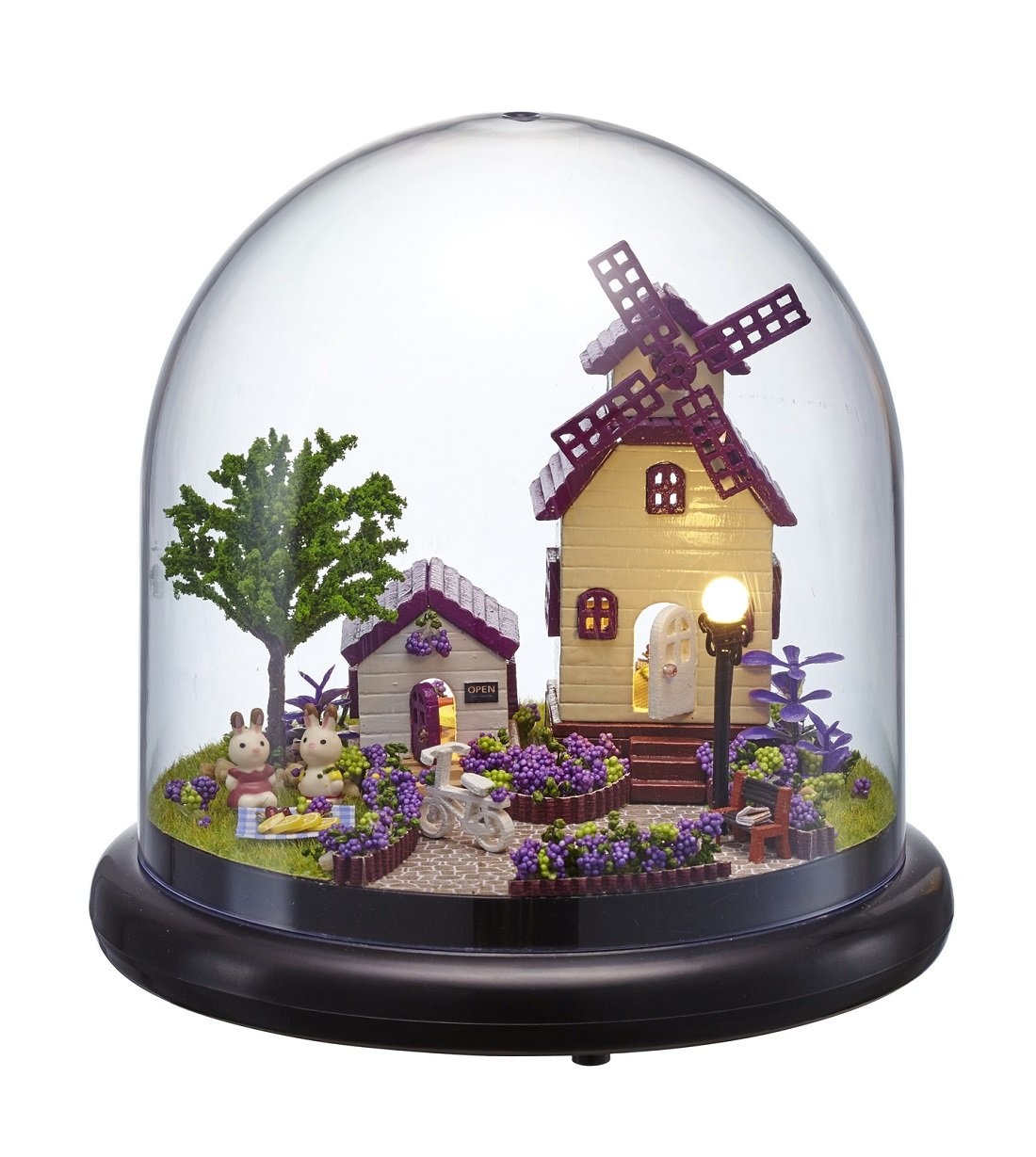 DIY Assembled Mini Miniature Scene Plastic Cover Provence LED Light & Music box Cute room