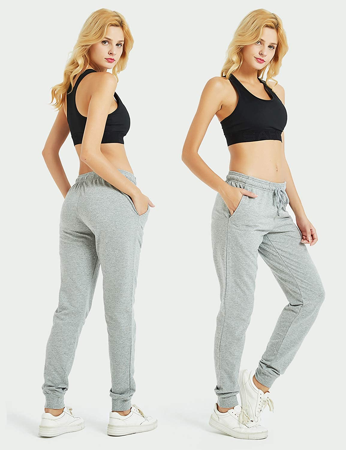 Casual Sweatpants Tracksuit Bottoms with 3 Pockets Safort 30//32//34 Inseam Tall Regular Women 100/% Cotton Jogger Pants
