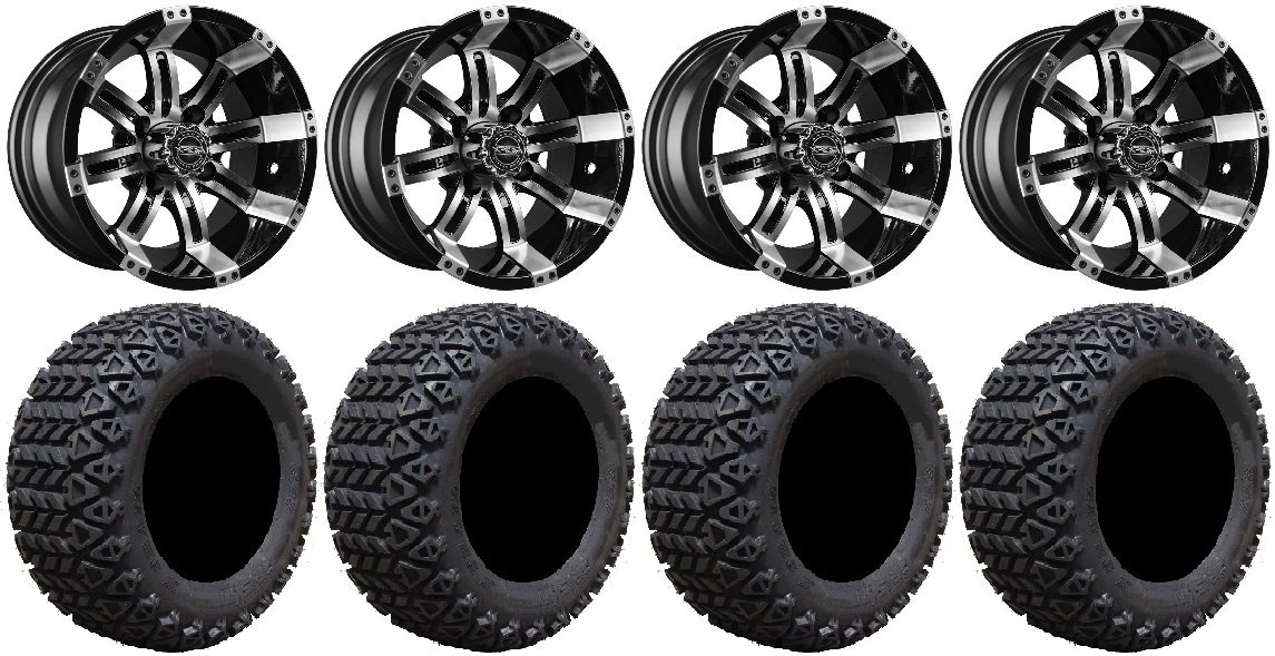 Bundle - 9 Items: Madjax Octane Machined Golf Wheels 14'' 23x10-14 X-Trail Tires [for E-Z-GO & Club CarGolf Carts]