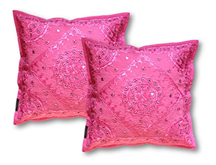 1547907427 Buy AGASVI Cotton Mirror Work Embroidered Cushion Covers (Pink) - Set of 2  Online at Low Prices in India - Amazon.in