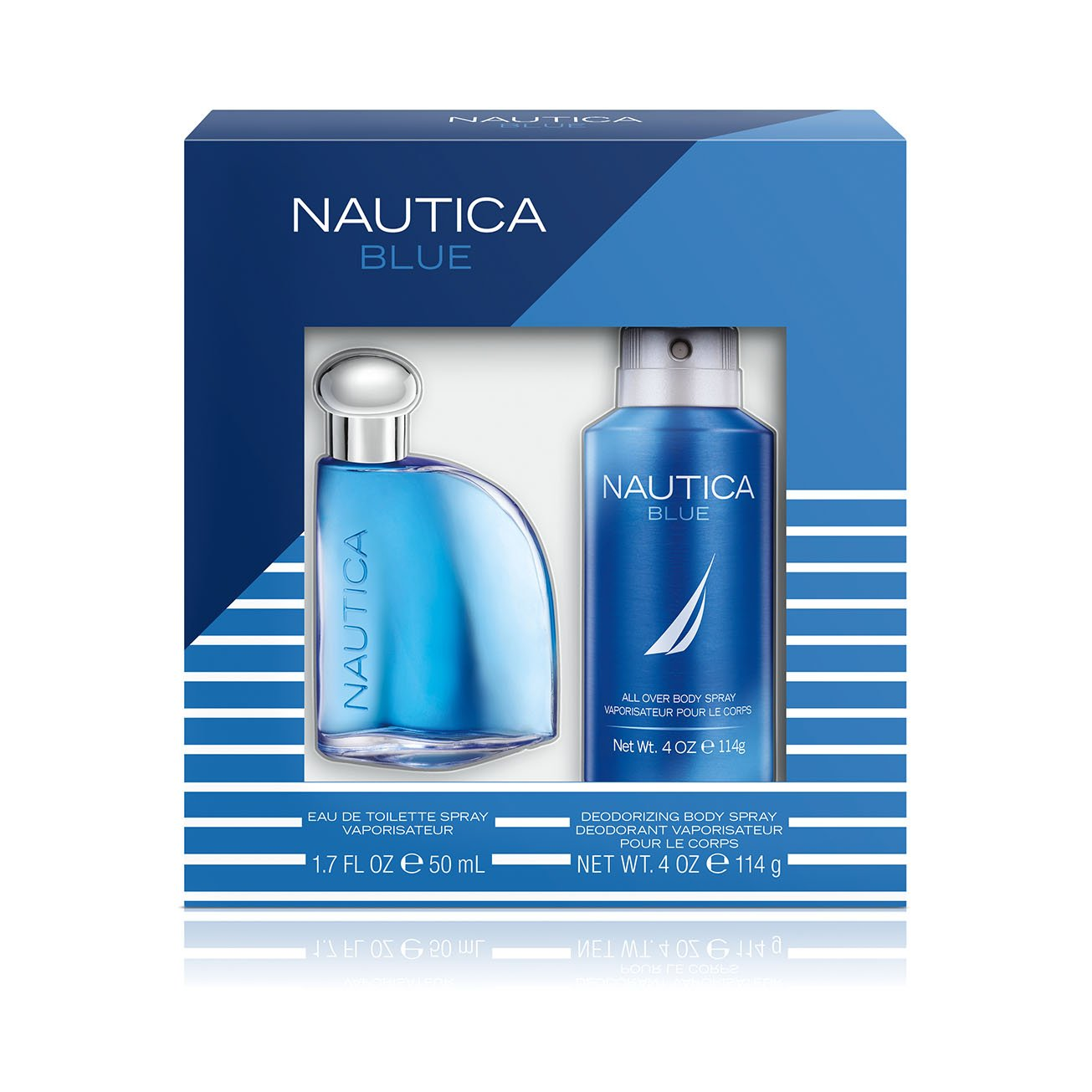 Nautica Blue, Men s Fragrance, 2 Piece Set, 1.7 oz. Eau de Toilette, 4.0 oz. Deodorizing Body Spray, Classic Scents, Great Gift Set