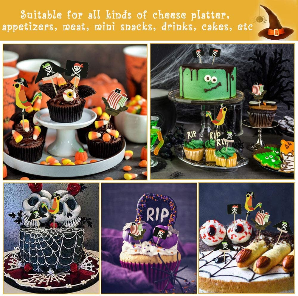 Standup Wafer Cake Decoration for Kids Children Girls Boys Halloween Birthday Party Decorations TANCUDER 48 PCS Pirate Cake Topper Set Halloween Cupcake Picks Pirate Cocktail Toothpicks for Food