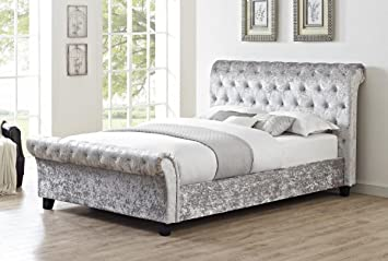 Casablanca Hfe Crushed Velvet Double Bed Grey Solid Double Bed
