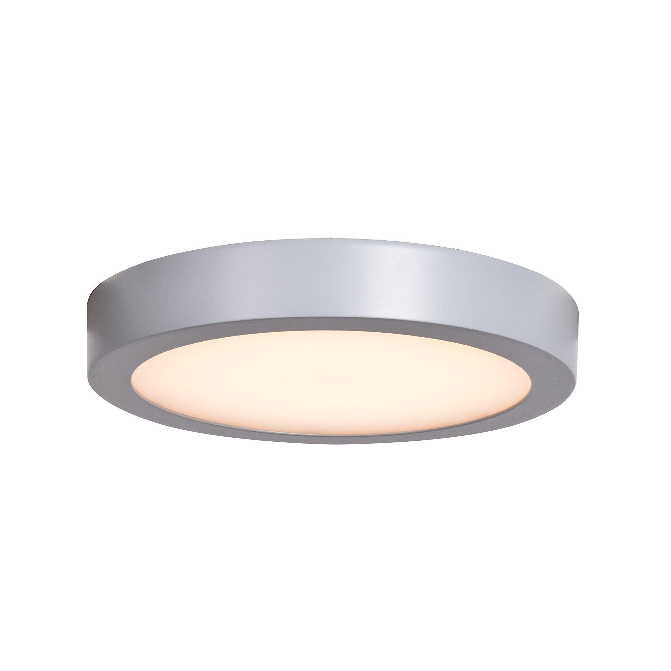 Ulko Exterior LED Outdoor Flush Mount - 9'' D - Silver - Acrylic Lens Diffuser