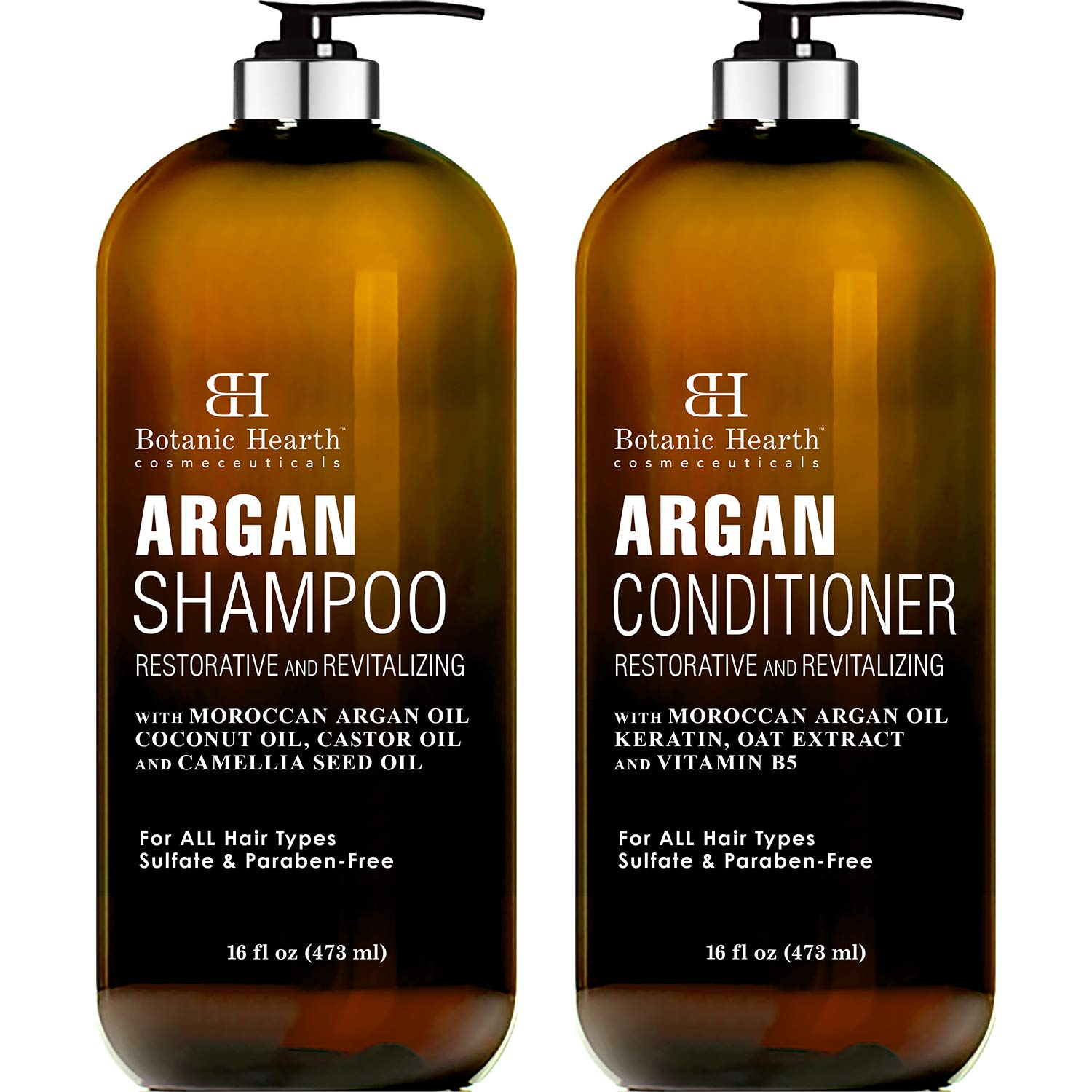 BOTANIC HEARTH Argan Oil Shampoo and Conditioner Set - with Keratin, Restorative & Moisturizing - Sulfate & Paraben Free - for All Hair Types and Color Treated Hair, Men and Women - 16 fl oz x 2 by Botanic Hearth
