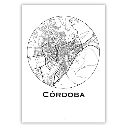 Cartel Córdoba España Minimalista Mapa - City Map, decoración ...