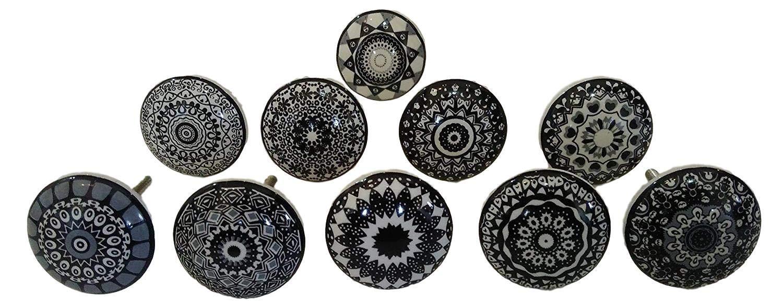 pomos de cocina Juego de 10 pomos de cer/ámica pintados a mano para armario color blanco y negro cajones