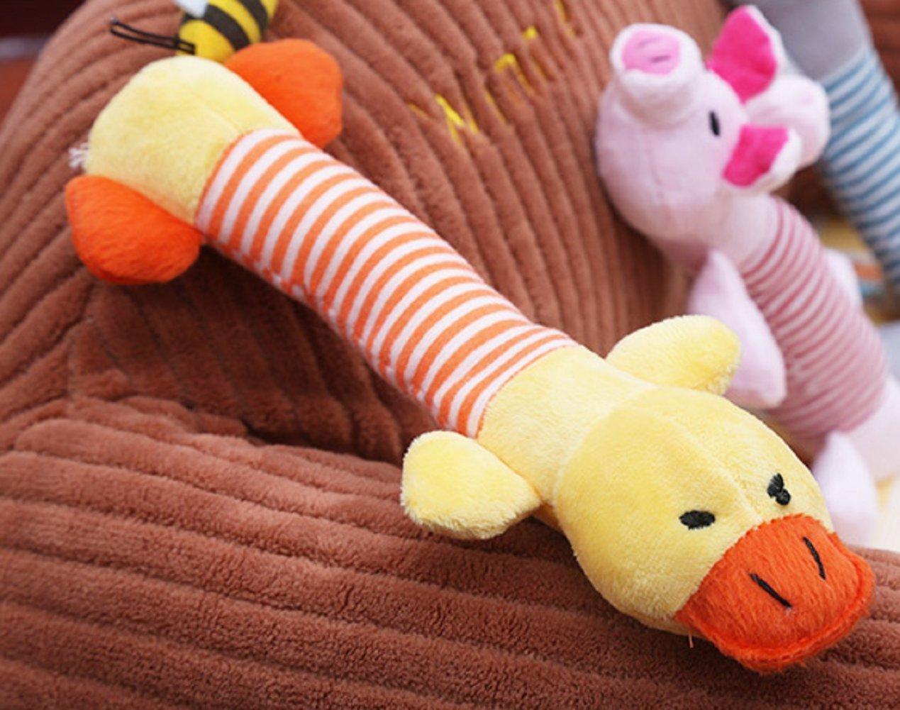 Isuper squeaky peluche elefante e anatra giocattoli peluche da masticare per i animali domestici