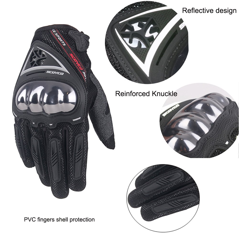 SCOYCO Men's Race Extreme Sports Protective Outdoor Motorcycle Gloves(Black,XL) by SCOYCO (Image #3)