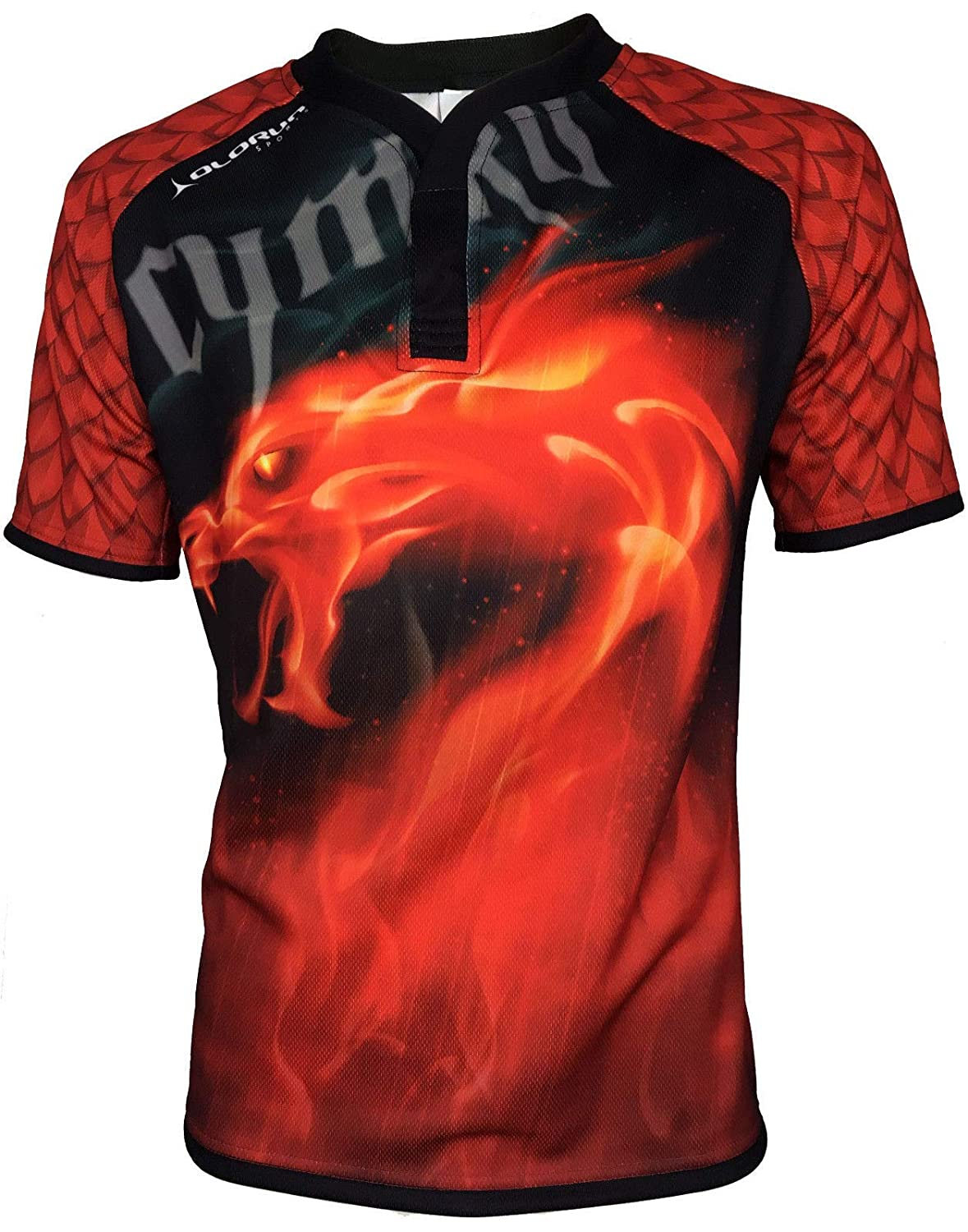 Olorun Wales Dragon Inferno Supporters Rugby Shirt S-7XL