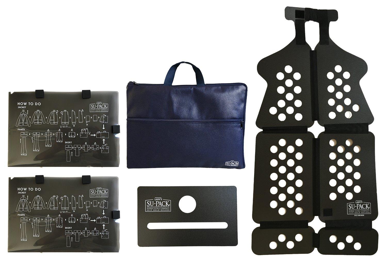 LAD'S SU-PACK Clean (レディース スーパック クリーン 抗菌消臭 ) 女性用スーツを4分の1にコンパクト収納。 世界初 特許ホルダーでビジネスバッグやキャリーケースに入る 世界最小級 ガーメントバッグセット 5点セット 女性用 B01I8SL72K ネイビーブルー ネイビーブルー