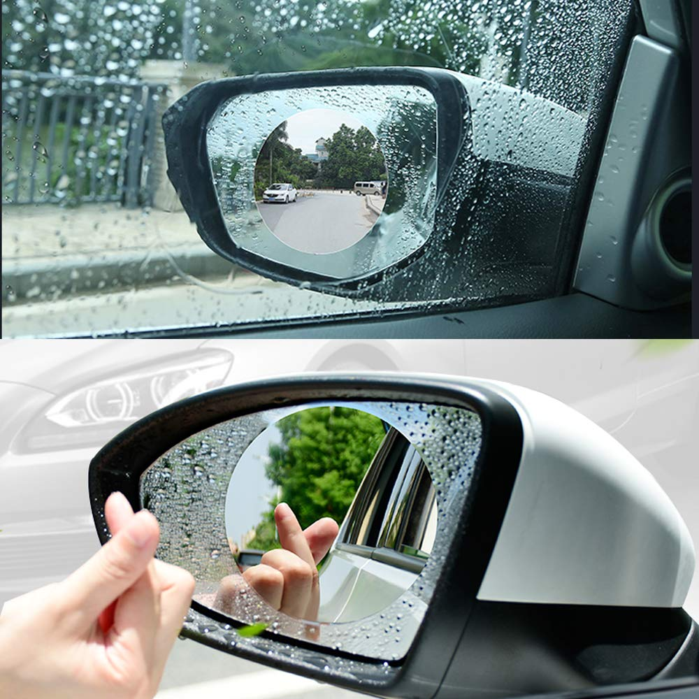 OfsPower Rearview Rainproof Membrane White 2-PCS Anti Fog Mist Glare Scratch, Waterproof Rear View Film, Mirror Window Protective Car Accessories, Circle