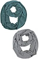 Green & Gray Striped Infinity Circle 2-Pack Scarf Set