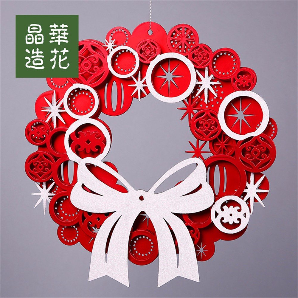 Bowknot Christmas wreath ornaments ornaments red / gold gift,Red