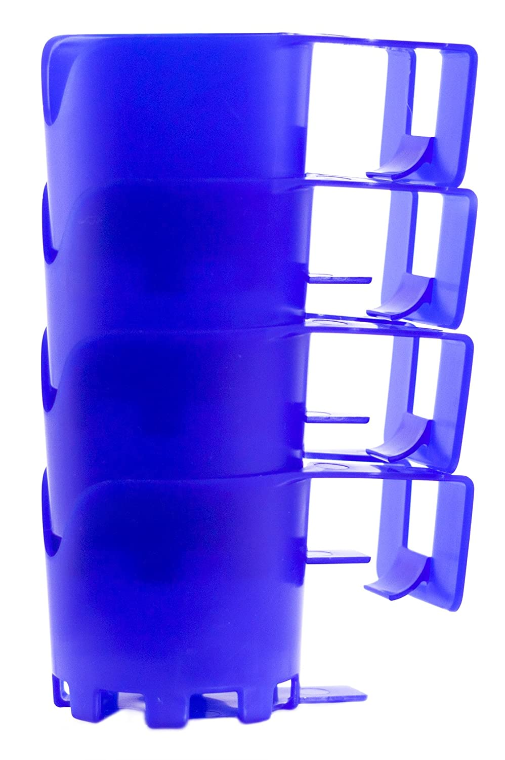 BeraTek Industries Storage Theory | Poolside Cup Holder | Designed for Above Ground Pools | Only Fits 2 inch or Less Round Top Bar | Blue Color | 4 Pack