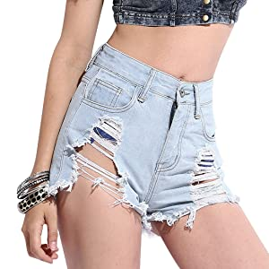 Azbro Women's Favorite Destroyed High-waist Raw-edged Denim Shorts
