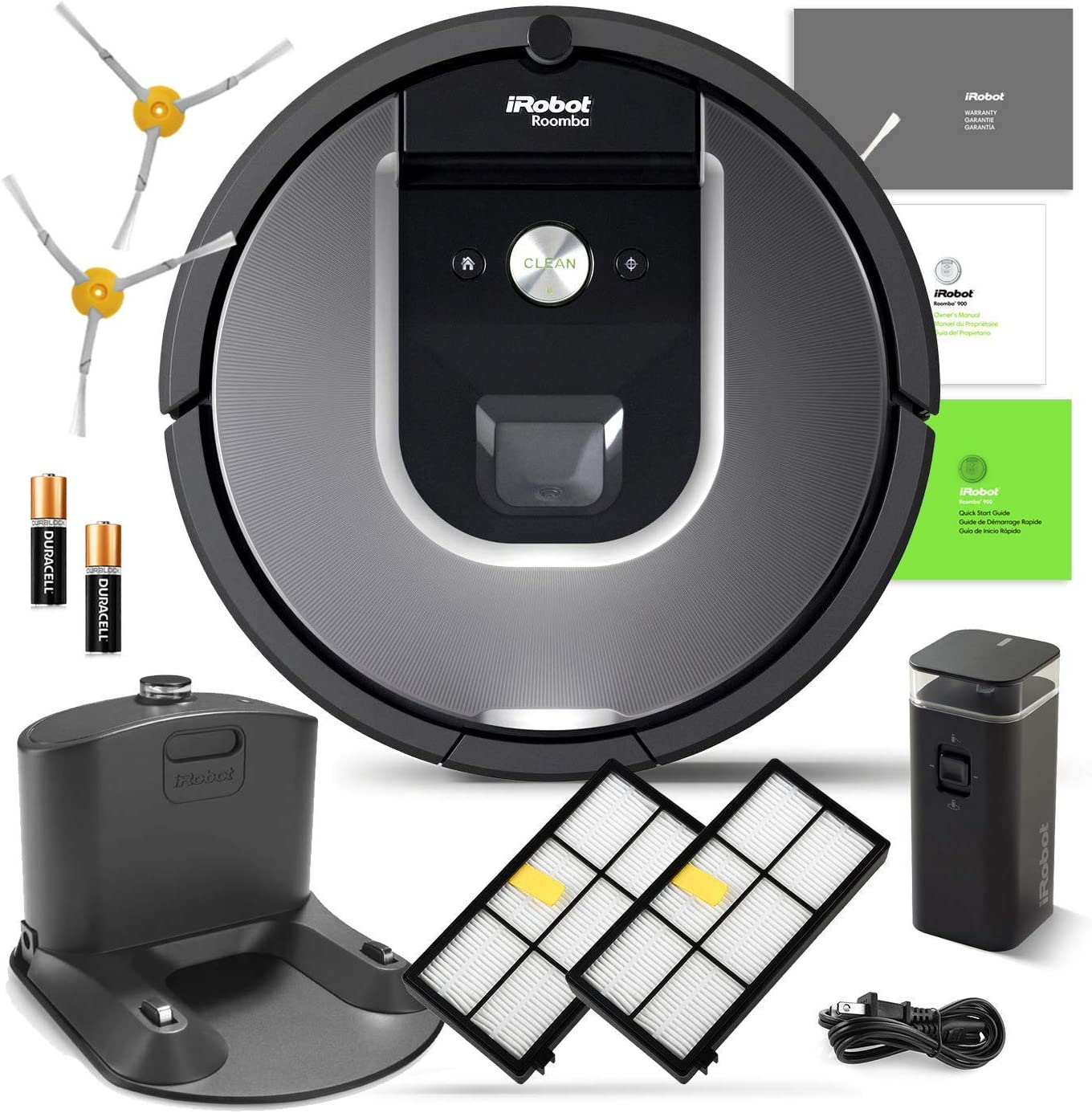 iRobot Roomba 960 Robotic Vacuum Cleaner Wi-Fi Connectivity Manufacturer s Warranty Extra Sidebrush Extra Filter Bundle