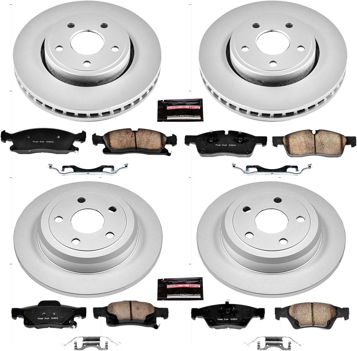 Power Stop CRK1921,Z17 Coated Rotor Front and Rear Brake Kit-Coated Brake Rotors /& Ceramic Brake Pads