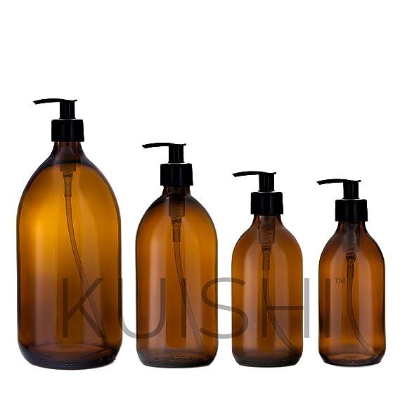 Botella de vidrio dispensadora de jabón Kuishi, vidrio, Amber, x2 1000ml: Amazon.es: Hogar