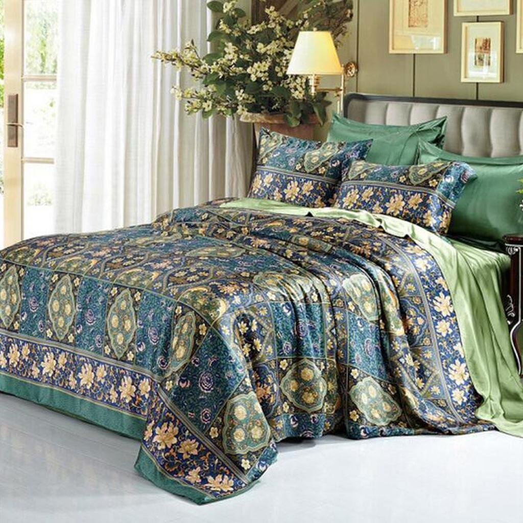 L&M Silk pieces of four sets 100% Pure silk Silk bedding 1.8M rice bed 200 230cm 2.0M bed 220X240cm , blue