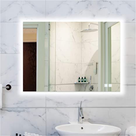 Rogsfn 24x32 Inch Led Backlit Bathroom Mirror Lighted Frameless Wall Mounted Mirror Dimmable Anti Fog Makeup Vanity Mirror With Lights Horizontal Vertical Kitchen Dining