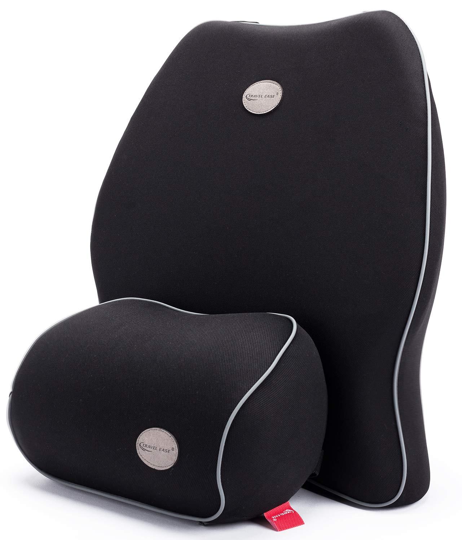 Travel Ease Car Lumbar Support Back Cushion & Headrest Neck Pillow Kit