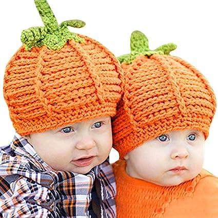 b3e6d052d2af81 Image Unavailable. Image not available for. Color: Longay 1PC Unisex Baby  Pumpkin Crochet Hat Cap Handmade Knit Halloween Infant ...