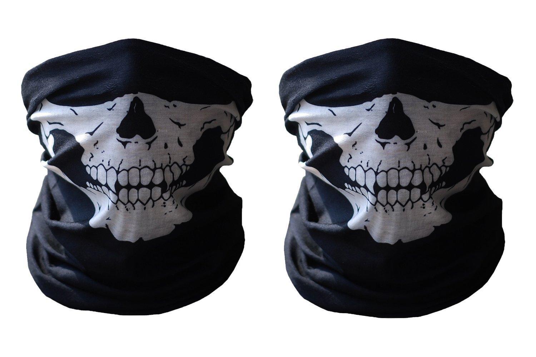 2pcs Stretchable Tubular Skull Face Mask Motorcycle Biker Snowboards ECOGROUP
