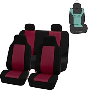 FH Group FB102114 Classic Cloth Seat Covers (Burgundy) Full Set with Gift – Universal Fit for Cars Trucks & SUVs