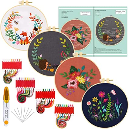 Embroidery Hoop Kit Include Instructions 1 Embroidery Hoops Color Threads and Tools Kit 3 Sets Embroidery Starter Kit 3 Embroidery Clothes Cross Stitch Kits