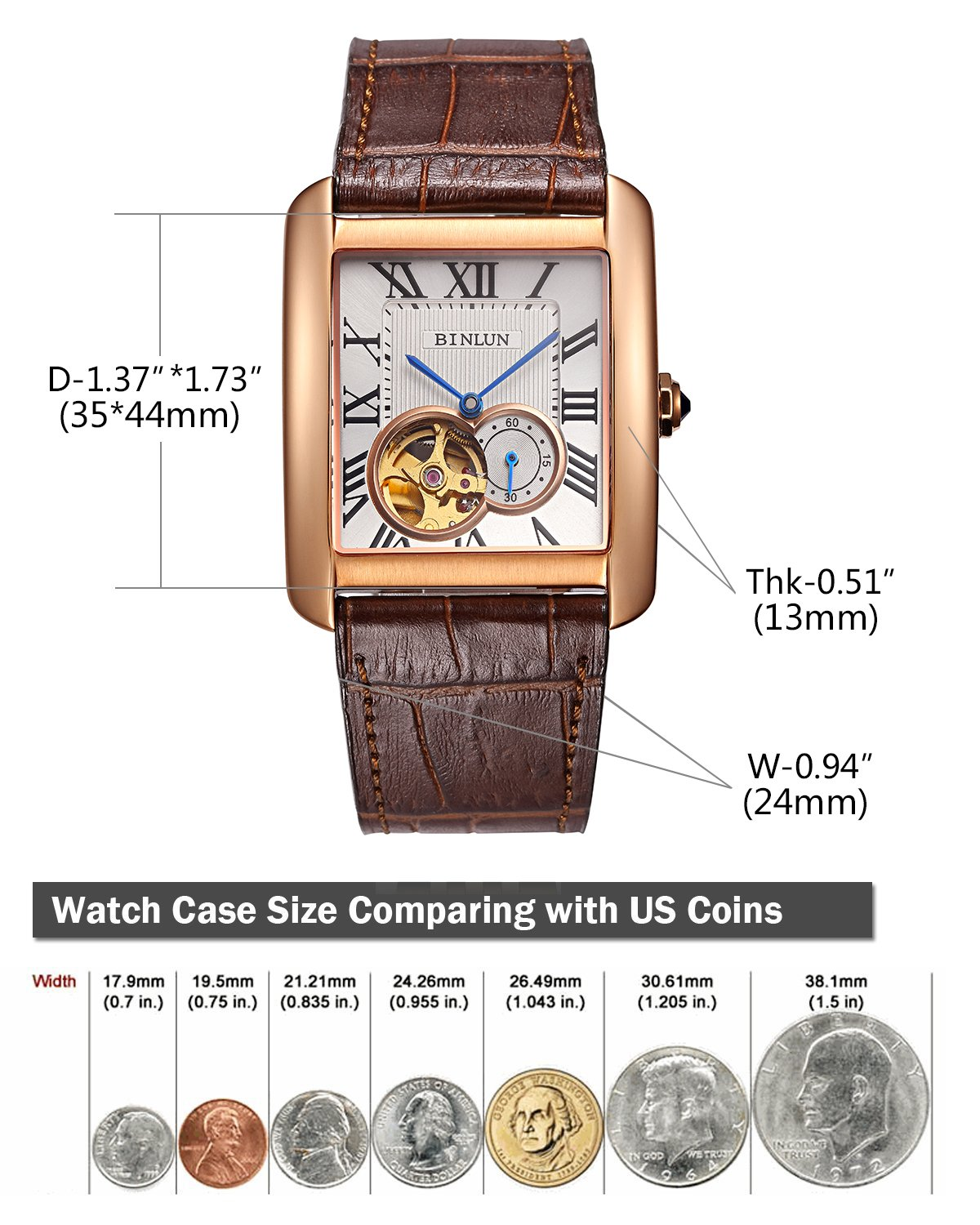 Binlun Men's Rectangle Shape Gold-Plating Business Mechanical Self-Winding Watch Brown Leather Band by BINLUN (Image #4)