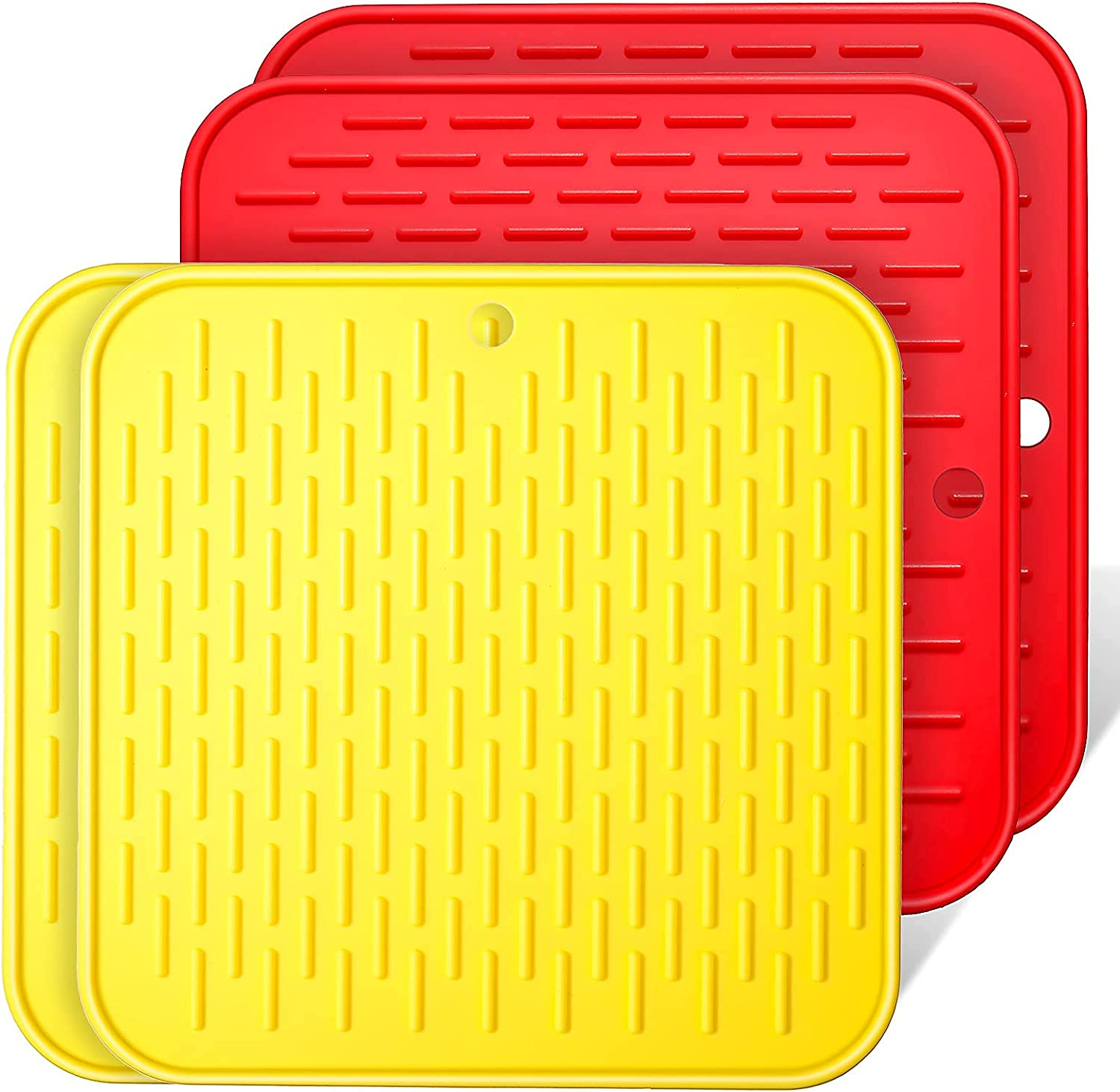 4 Pieces Reusable Air Fryer Liners, Non-Stick Silicone Air Fryer Basket Mats Deep Fryer Accessories, Red and Yellow