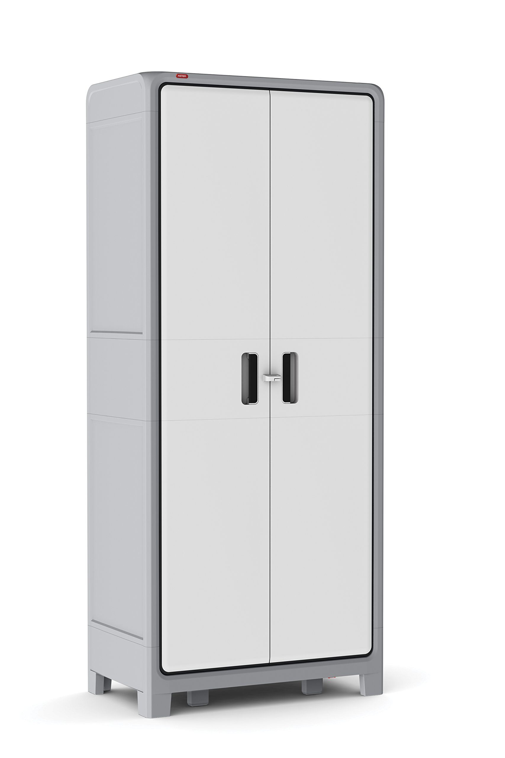 Keter Optima Wonder 72 x 31 x 18 in. Free Standing Plastic Tall Storage Cabinet with 4 Adjustable Shelves, White & Grey by Keter
