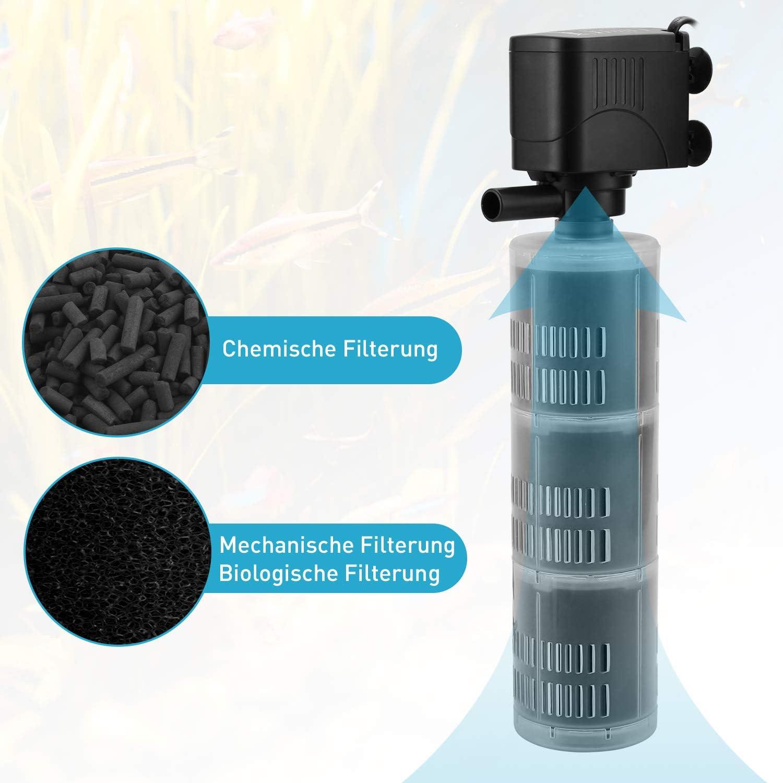 Filtro para acuario XpertMatic DB-368F 1800L//H para acuario hasta 30 hasta 500 L 3 niveles de filtraci/ón silenciosa filtro interior de acuario bomba
