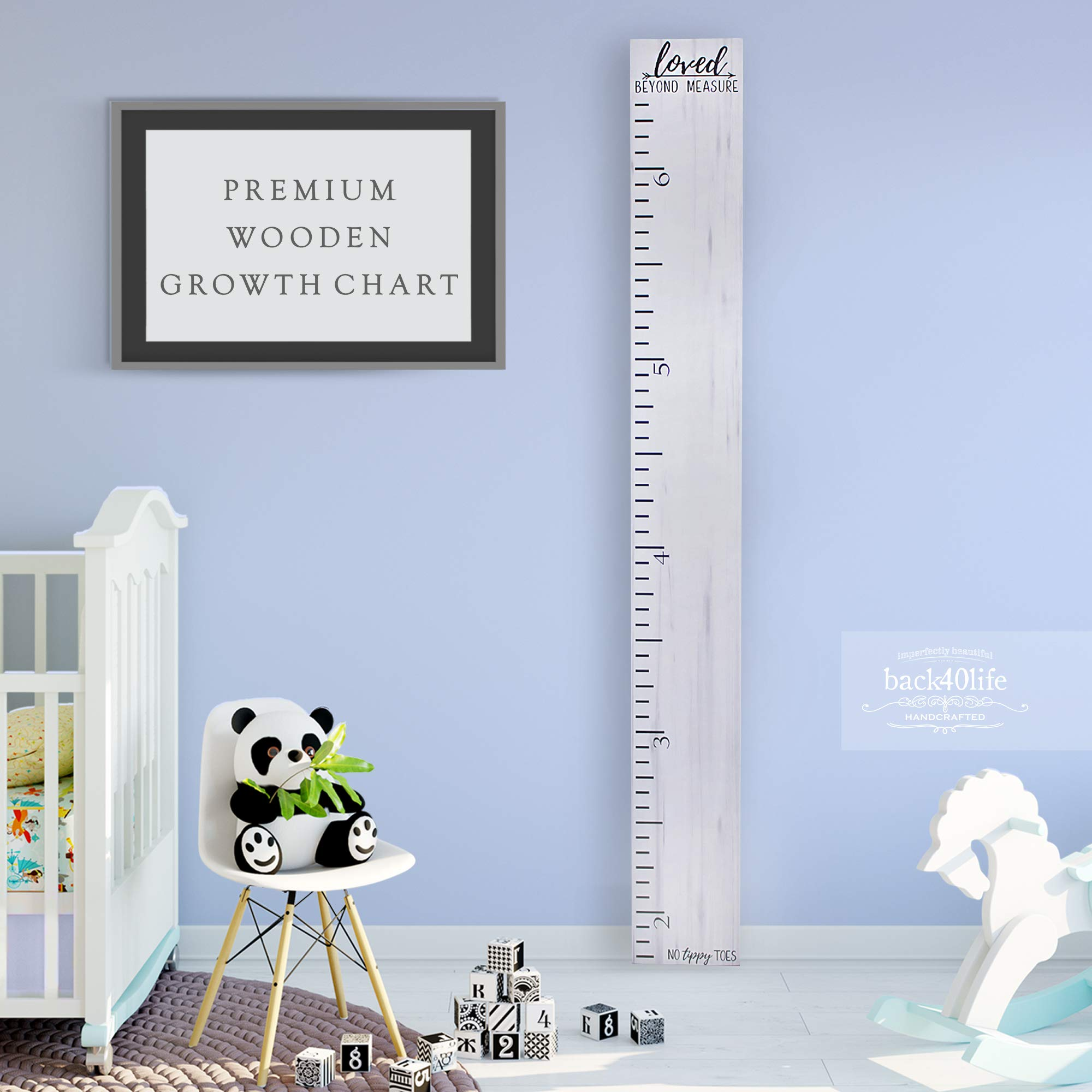 Back40Life - Premium Series - (No Tippy Toes - Loved Beyond Measure) Wooden Growth Chart Height Ruler (Weathered White) by Back40Life