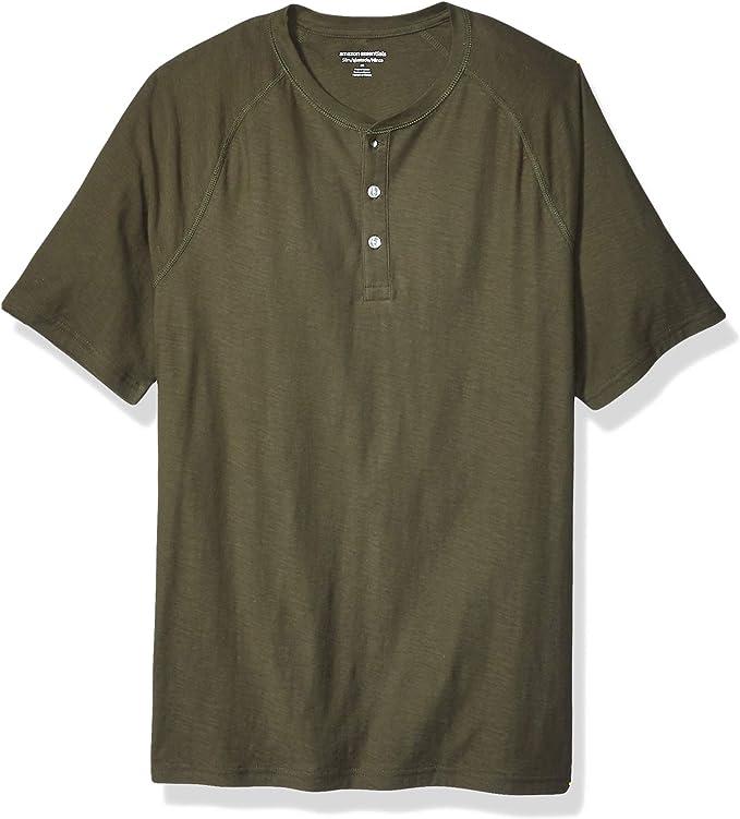 Amazon Essentials - Camiseta ajustada de manga corta estilo henley ...