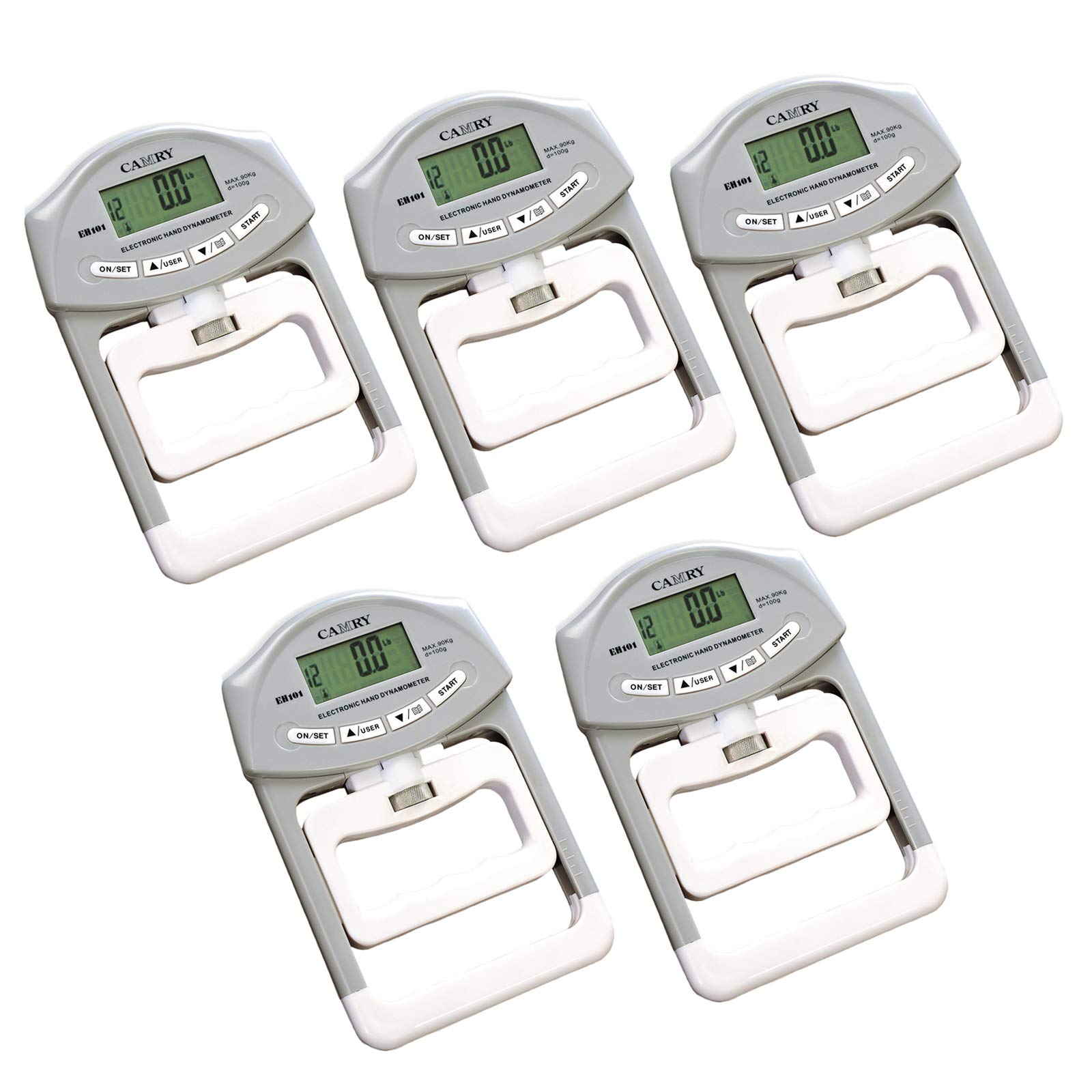 CAMRY Digital Hand Dynamometer Grip Strength Measurement Meter Auto Capturing Hand Grip Power 200 Lbs/90 Kgs - 5 Pcs