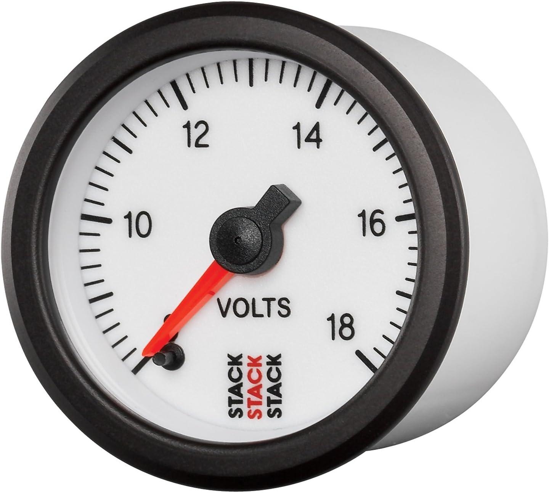 STACK ST3366 White 52mm 8-18V Professional Stepper Motor Battery Voltage Gauge