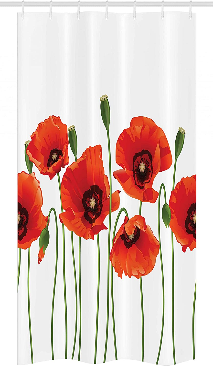 Ambesonne Floral Stall Shower Curtain, Poppies of Spring Season Pastoral Flowers Botany Bouquet Field Nature Theme Art, Fabric Bathroom Decor Set with Hooks, 36