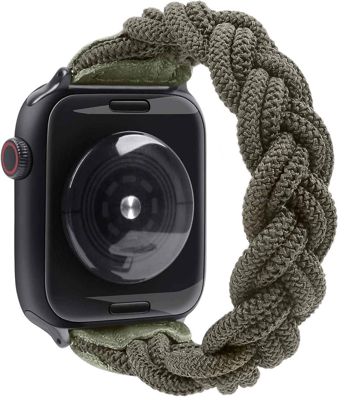 Fun Gaau Elastic Paracord compatible Apple Watch Band Green Nylon Handmade Replacement Wristband compatible iWatch Series 6/5/4/3/2/1, Women Men