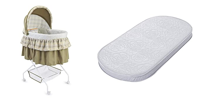 White Padded Design Waterproof Exterior Comfy Big Oshi Waterproof Oval Baby Bassinet Mattress Thick Soft Also Fits Portable Bassinets 16 x 31 x 2 Breathable Foam Interior