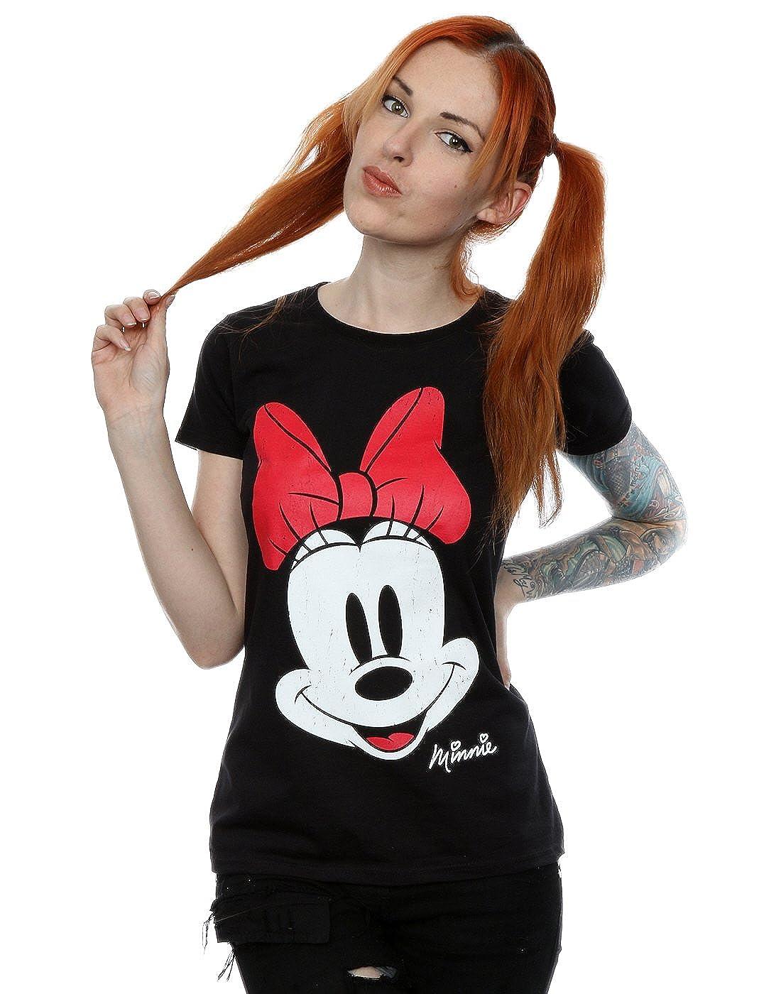 Disney Donna Minnie Mouse Distressed Face Maglietta