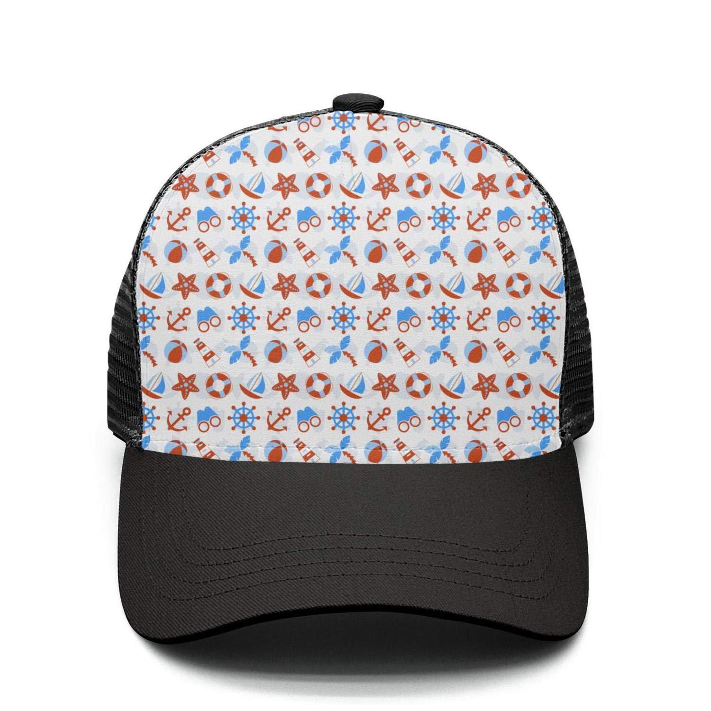 CCBING Unisex Boat Anchor Print Pattern Cute Breathable Mesh Baseball Cap Adjustable