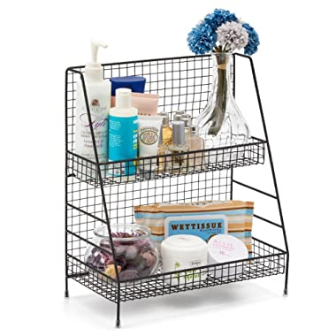 EZOWare 2-Tier Organizer Rack, Wire Basket Storage Container Countertop Shelf for Kitchenware Bathroom Cans Foods Spice Office and More - Rustic Brown