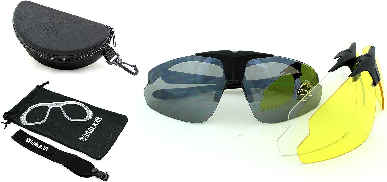 Milcraft Gafas Protectoras Balística Tácticas/Gafas de Seguridad/Gafas de Tiro, Kit de Gafas de Sol con Set de 3 Lentes UV400, Portador de la prescripción (RX)