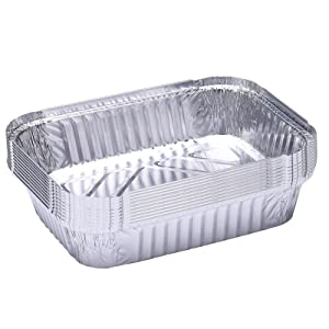SEA GIANT Aluminum Pans Disposable (10-Pack) Disposable Takeout Pans Food Containers for Baking, Cooking, Grilling (Sliver, 12.5x9.8 inch)